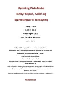 Innbydelse feltstevne 13. mai